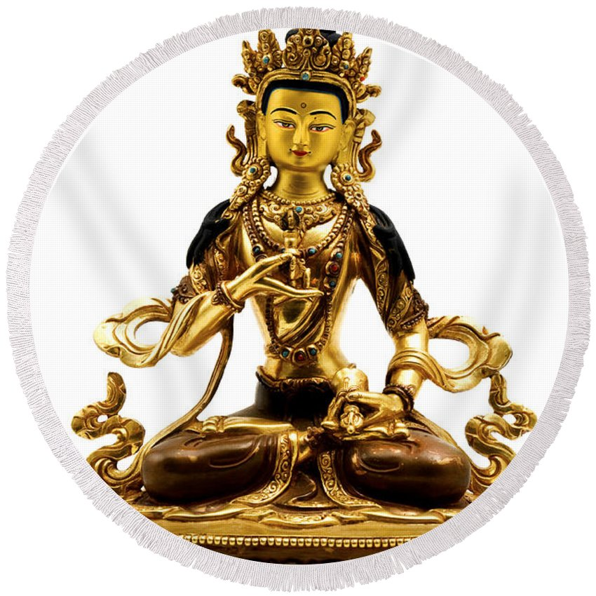 White Background Round Beach Towel featuring the photograph Vajrasattva by Fabrizio Troiani