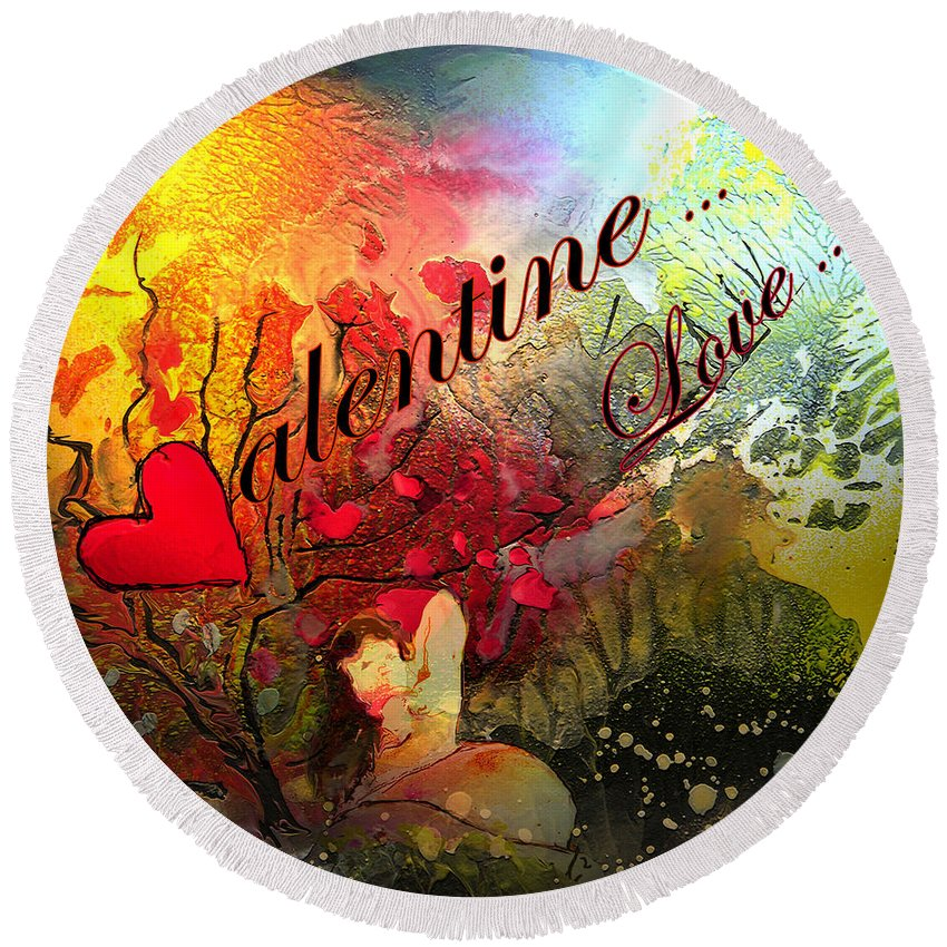 Valentine Round Beach Towel featuring the painting Valentine by Miki De Goodaboom