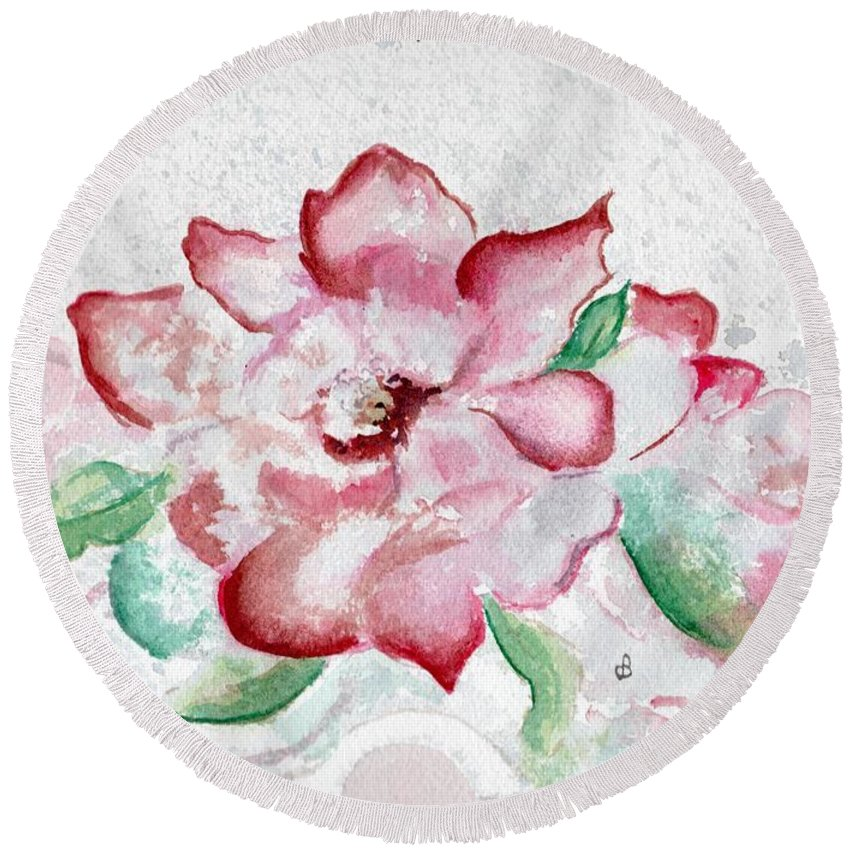 Watercolor Round Beach Towel featuring the painting Valentine Rose by Brenda Owen