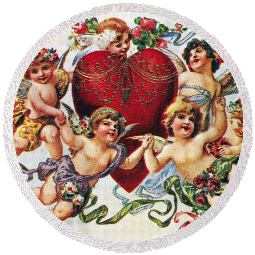 1900 Round Beach Towel featuring the photograph Valentines Day Card by Granger