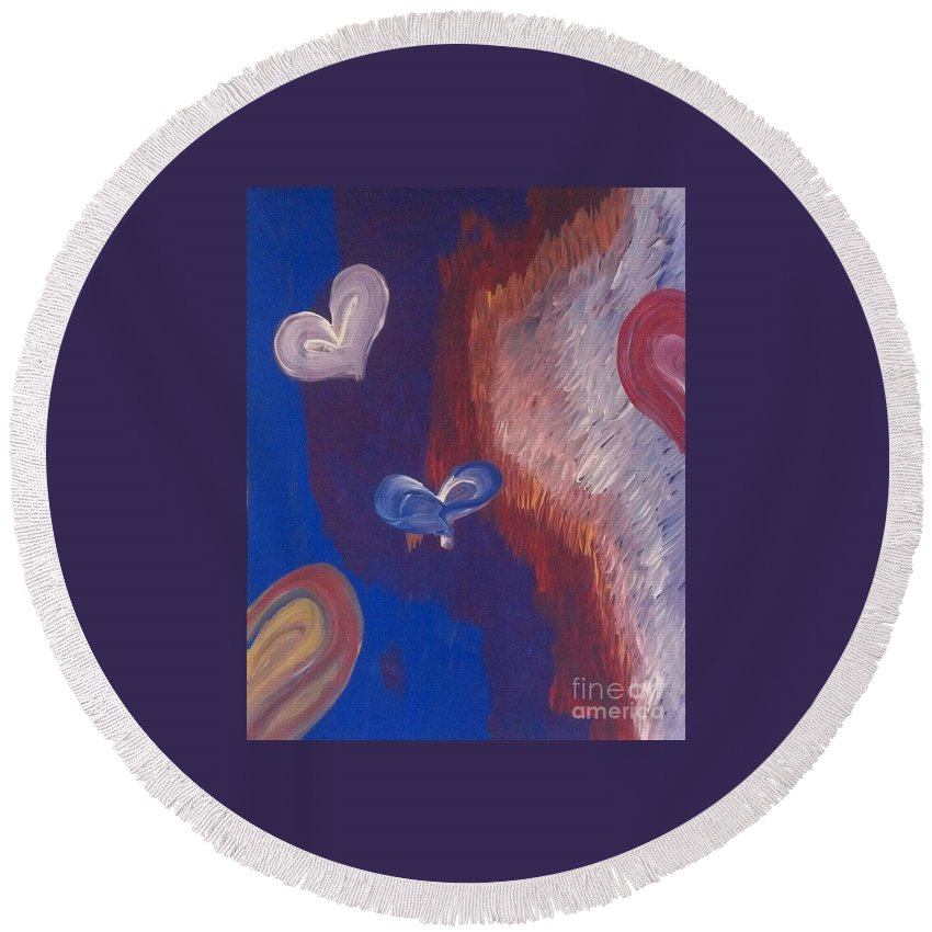 Valentine's Round Beach Towel featuring the painting Valentines by LKB Art and Photography