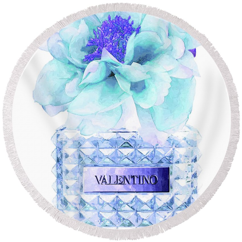 Valentino Round Beach Towel featuring the mixed media Valentino Blue Perfume by Del Art