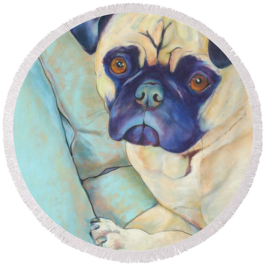 Pug Round Beach Towel featuring the pastel Valentino by Pat Saunders-White