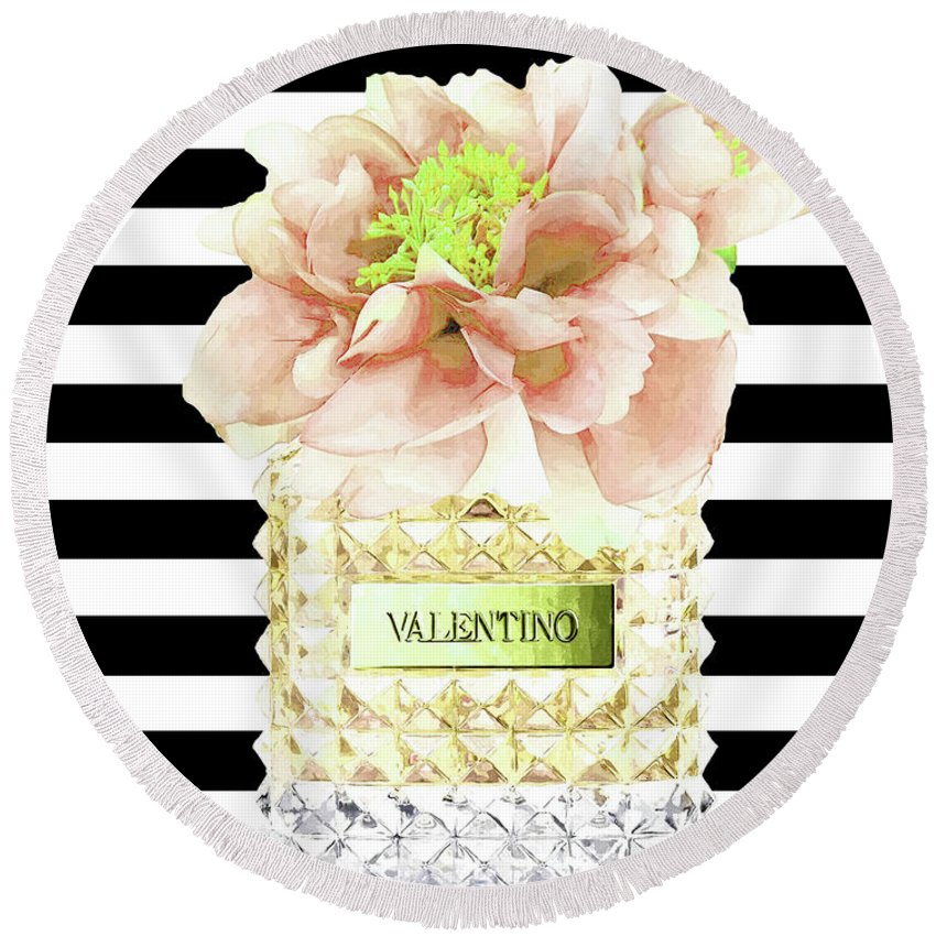 Valentino Round Beach Towel featuring the mixed media Valentino Perfume With Flower by Del Art