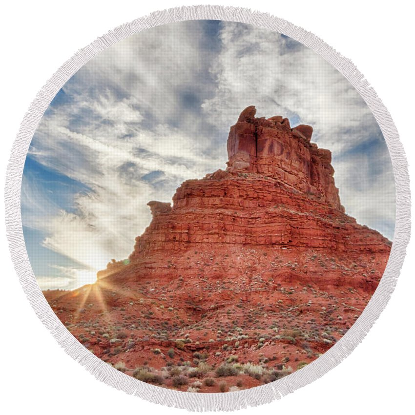 Butte Round Beach Towel featuring the photograph Valley Butte by Jayme Spoolstra