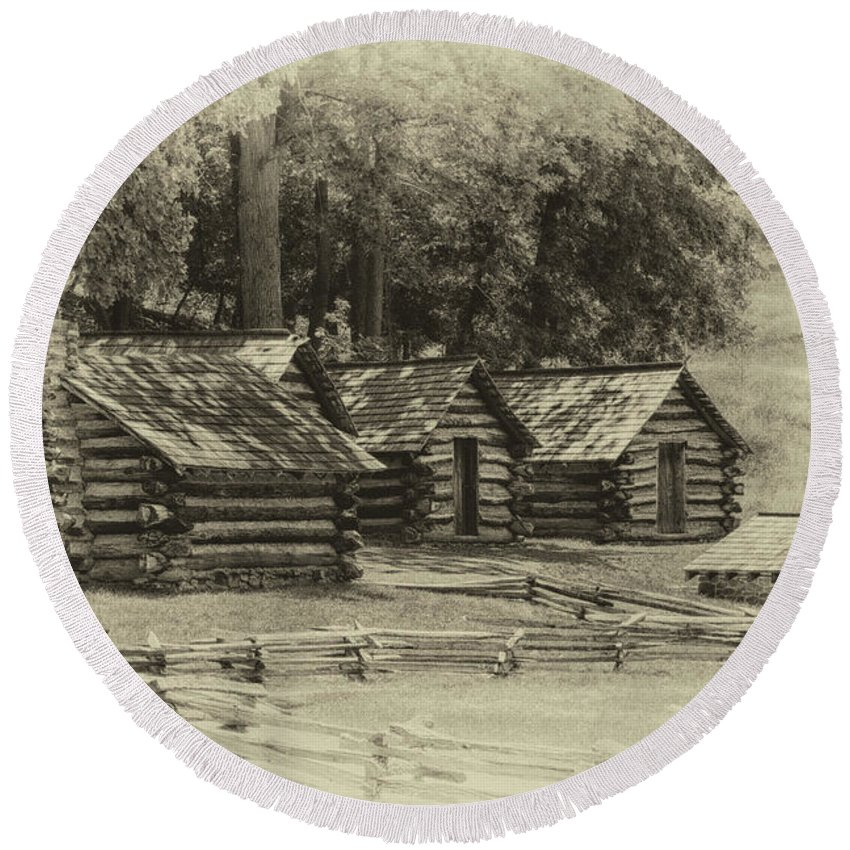 America Round Beach Towel featuring the photograph Valley Forge Barracks In Sepia by Tom Gari Gallery-Three-Photography