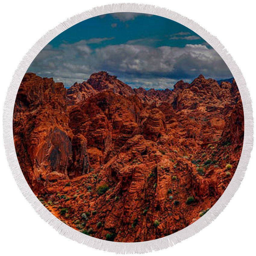 Valley Of Fire Round Beach Towel featuring the photograph Valley Of Fire by Michele James