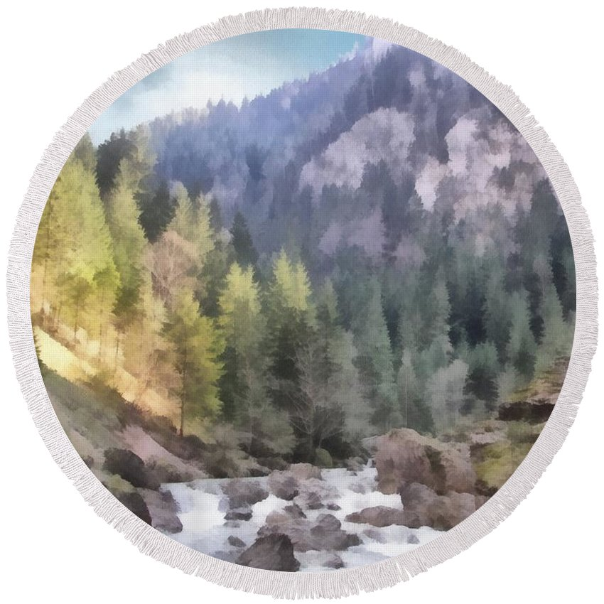 Carpathian Round Beach Towel featuring the painting Valley Of Light And Shadow by Jeffrey Kolker