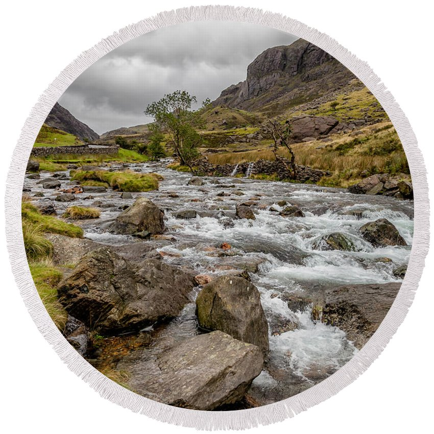 River Round Beach Towel featuring the photograph Valley Stream by Adrian Evans