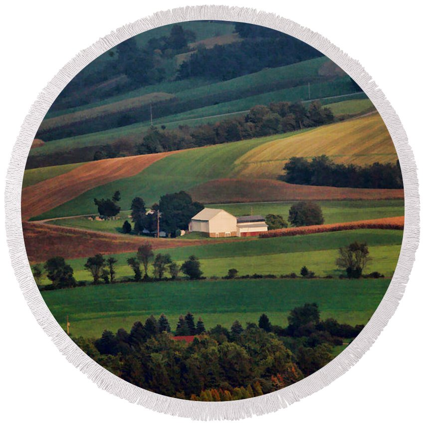 Landscape Round Beach Towel featuring the photograph Valley by William Jobes
