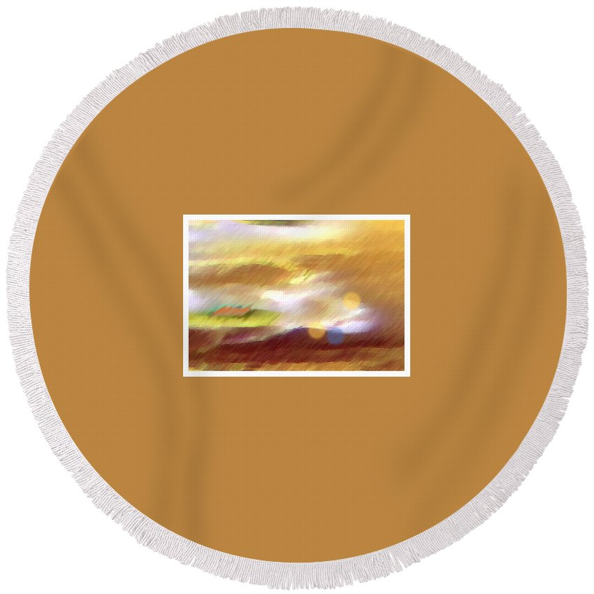 Landscape Round Beach Towel featuring the painting Valleylights by Anil Nene
