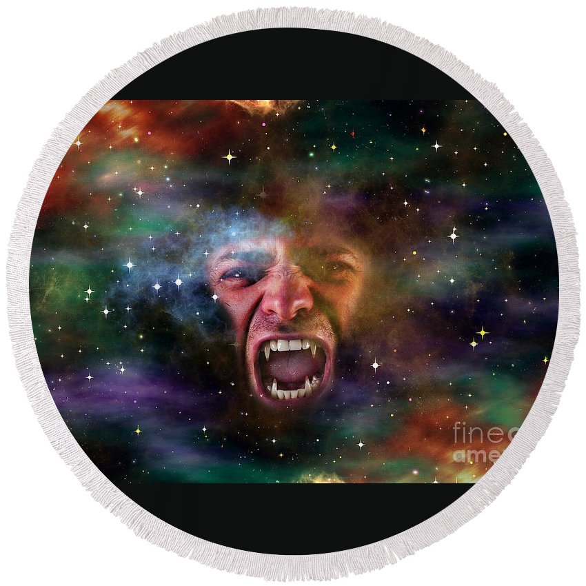 Witchcraft Round Beach Towel featuring the digital art Vampire Galaxy by Frederick Holiday