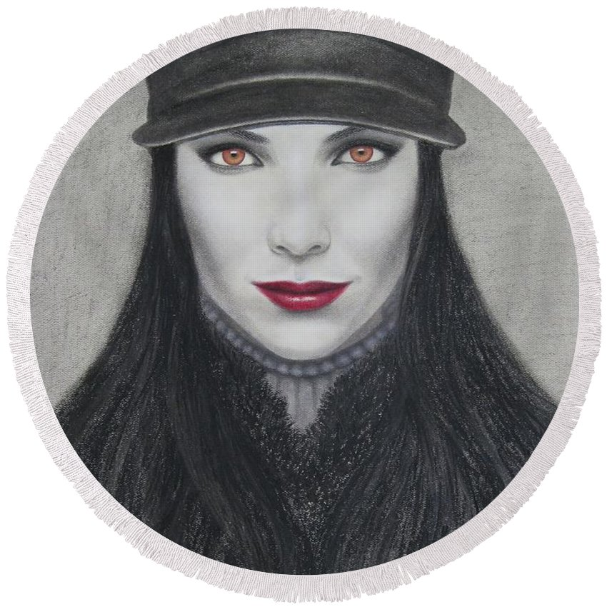 Vampire Round Beach Towel featuring the painting Vampire by Lynet McDonald