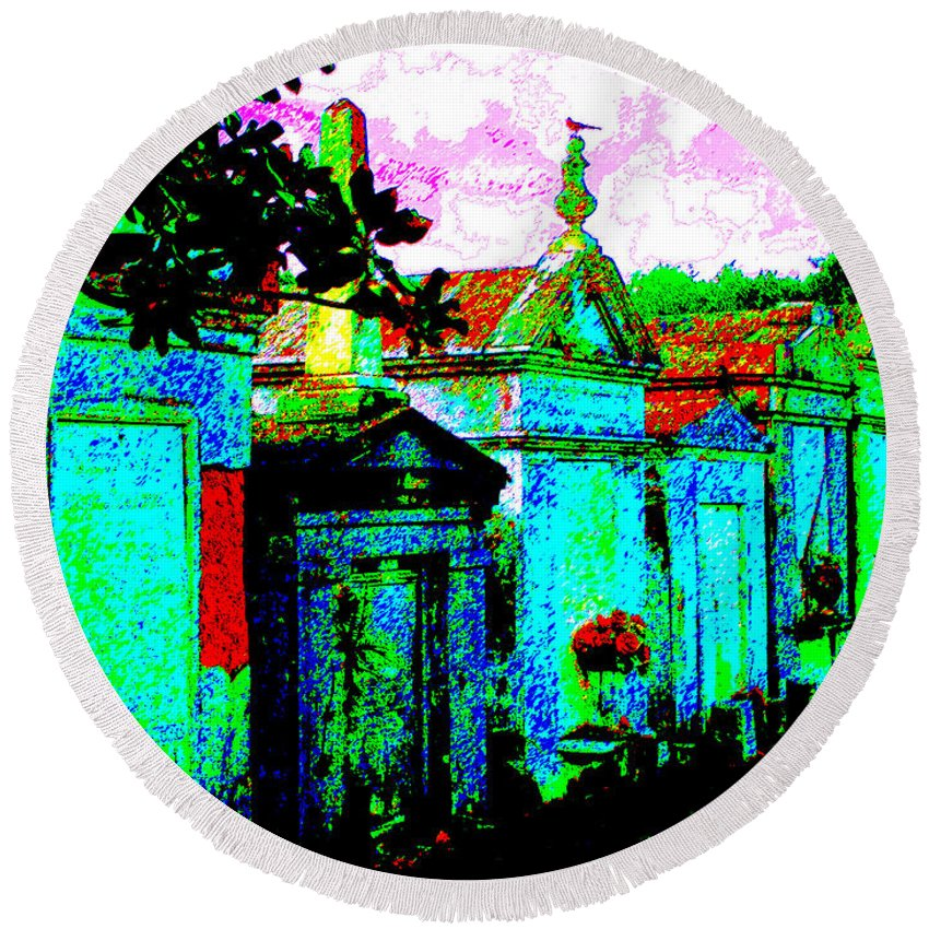 New Orleans Round Beach Towel featuring the photograph Vampire Tombs New Orleans by Jerome Stumphauzer