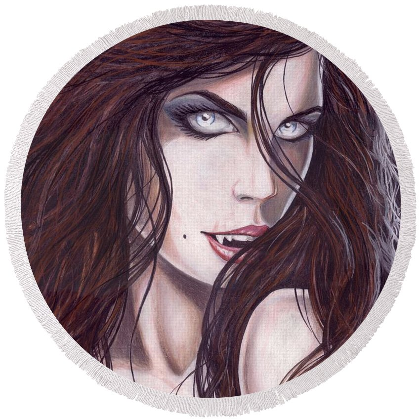 #girl Round Beach Towel featuring the drawing Vampiress by Kristopher VonKaufman