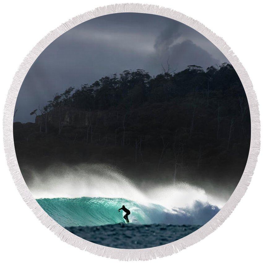 Perfect Surf Round Beach Towel featuring the photograph Van Diemen Dream by Sean Davey