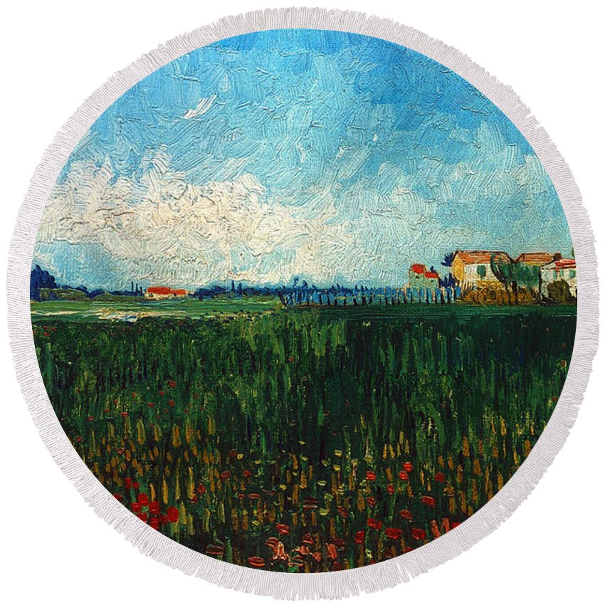 1888 Round Beach Towel featuring the photograph Van Gogh: Landscape, 1888 by Granger