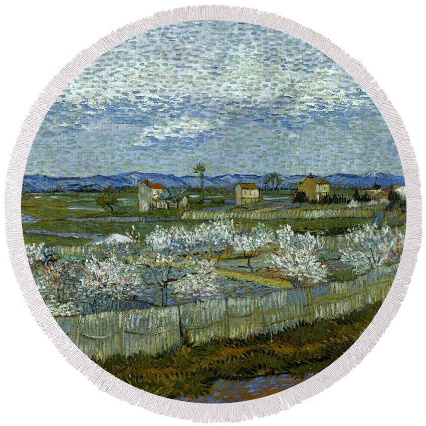 1889 Round Beach Towel featuring the photograph Van Gogh: Peach Tree, 1889 by Granger