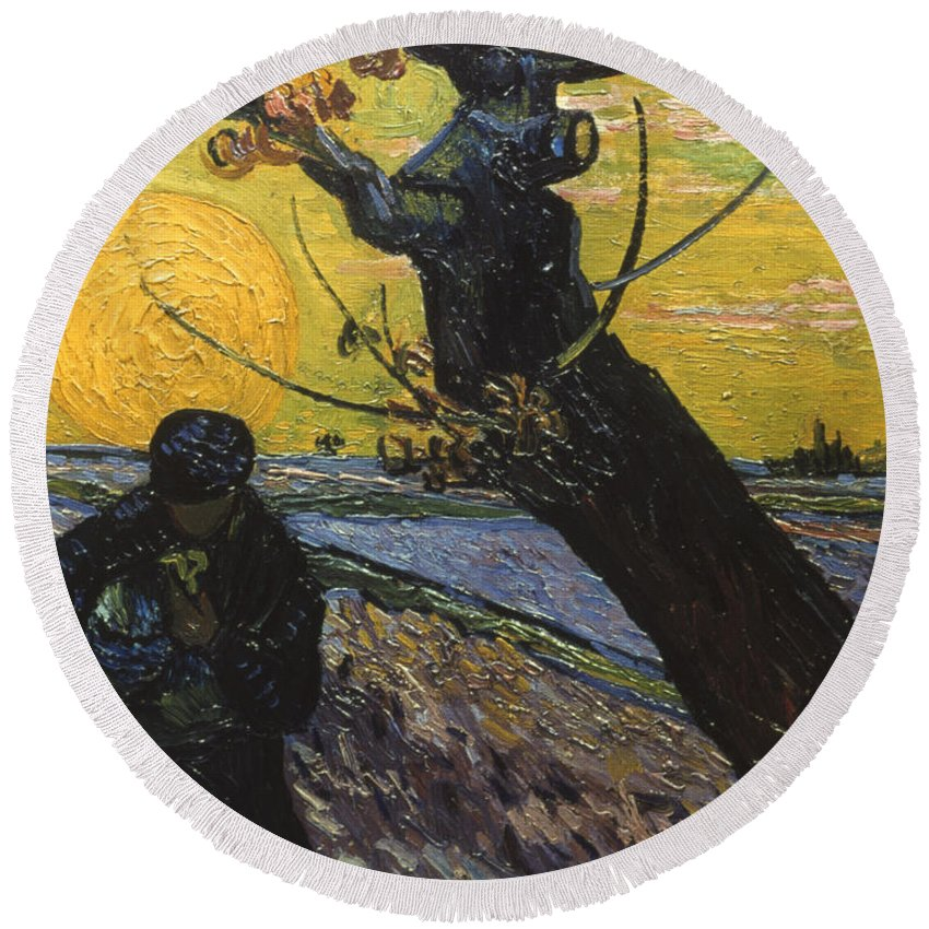 1888 Round Beach Towel featuring the photograph Van Gogh: Sower, 1888 by Granger