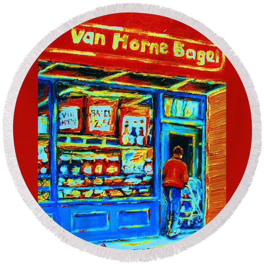 Van Horne Bagel Round Beach Towel featuring the painting Van Horne Bagel by Carole Spandau
