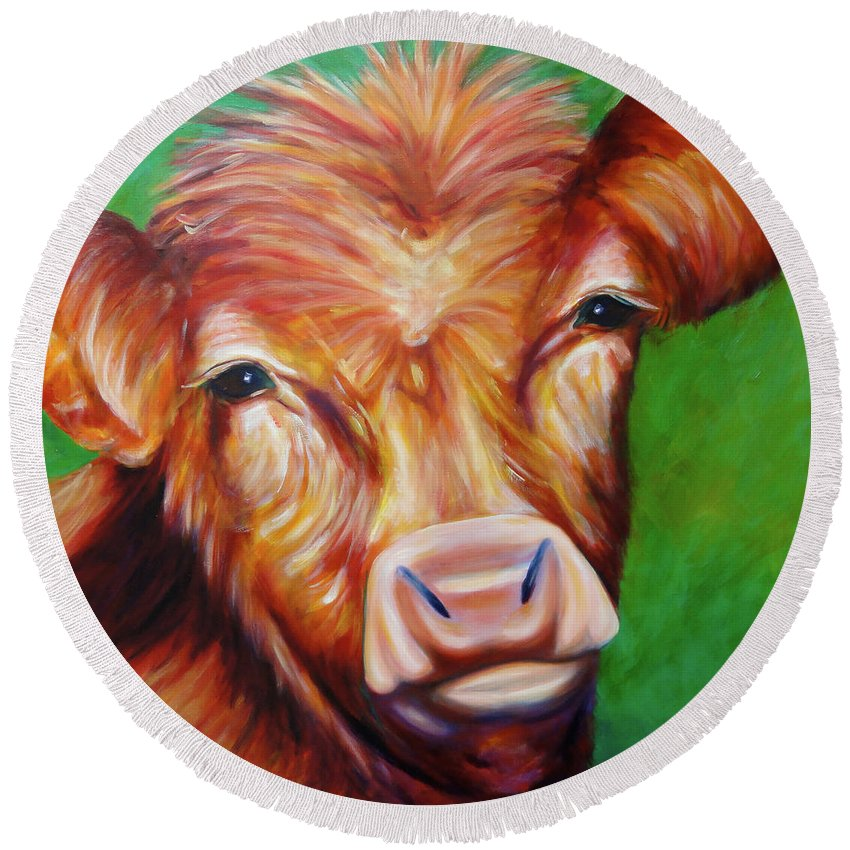Bull Round Beach Towel featuring the painting Van by Shannon Grissom