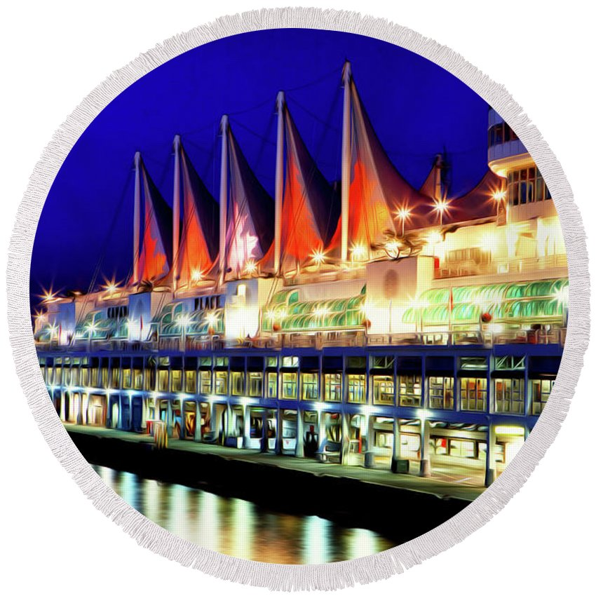 Vancouver Round Beach Towel featuring the digital art Vancouver At Night by Christopher Eng-Wong