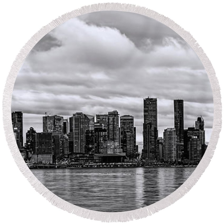 Vancouver Round Beach Towel featuring the photograph Vancouver In Black And White. by Viktor Birkus