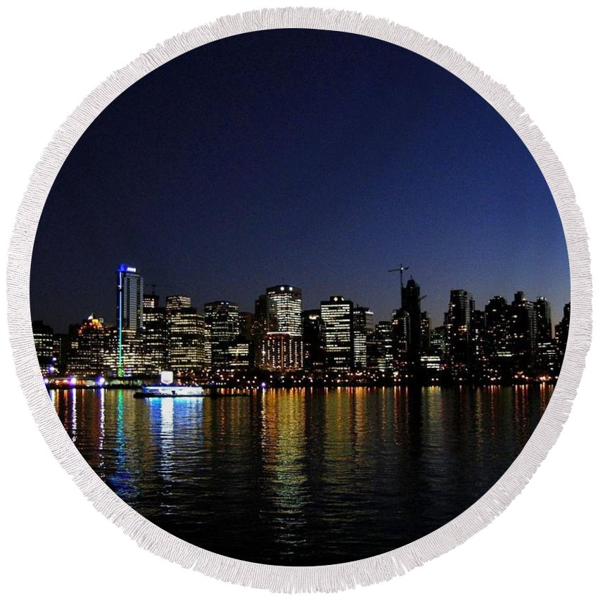 Night Scape Round Beach Towel featuring the photograph Vancouver Night Lights by Will Borden