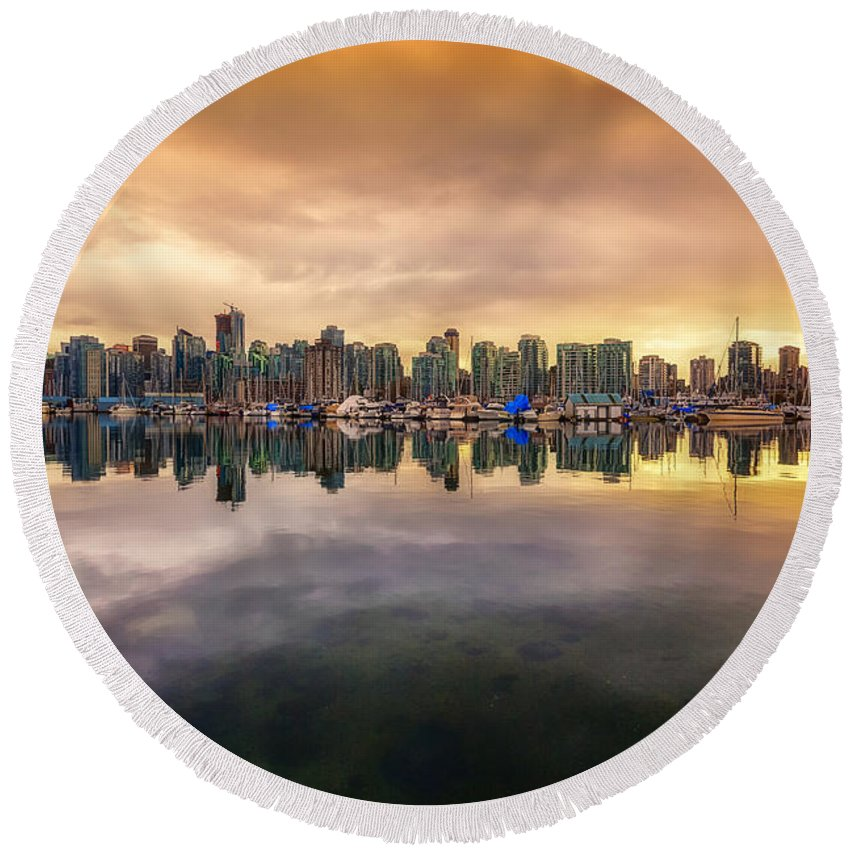Vancouver Round Beach Towel featuring the photograph Vancouver Reflections by Eti Reid