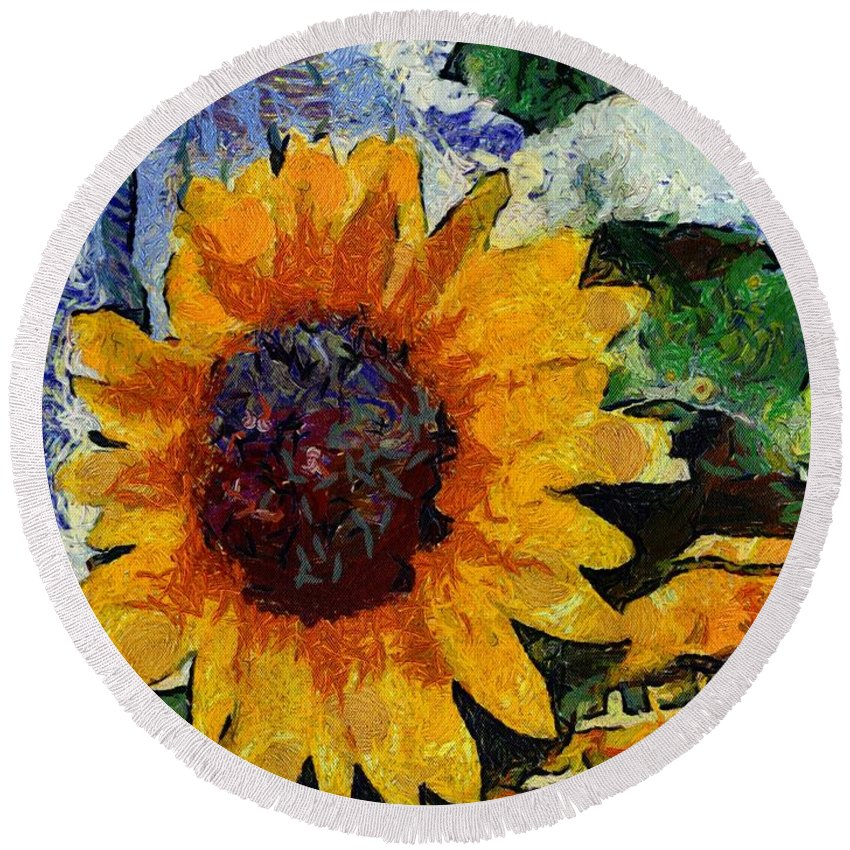 Alicegipsonphotographs Round Beach Towel featuring the photograph Vangogh Sunny by Alice Gipson