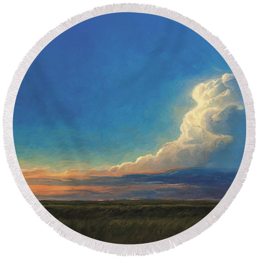 Landscape Round Beach Towel featuring the painting Vanish Into The Blue by Rebecca Zook