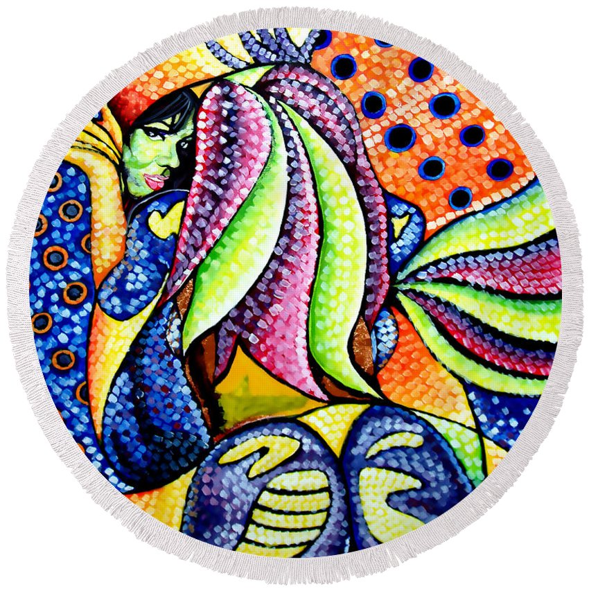 Abstract Round Beach Towel featuring the painting Vanity by Che Hondo