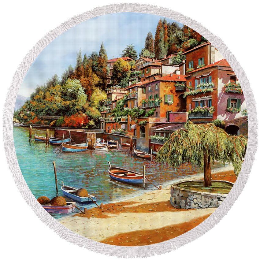 Lake Como Round Beach Towel featuring the painting Varenna On Lake Como by Guido Borelli