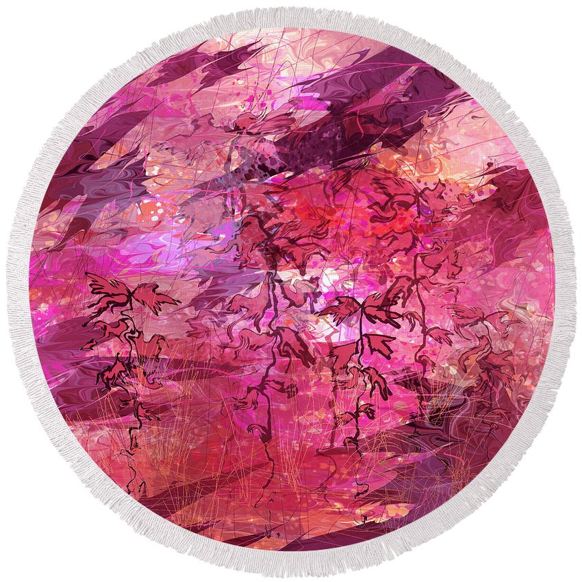 Abstract Round Beach Towel featuring the digital art Variant Whispers by Rachel Christine Nowicki
