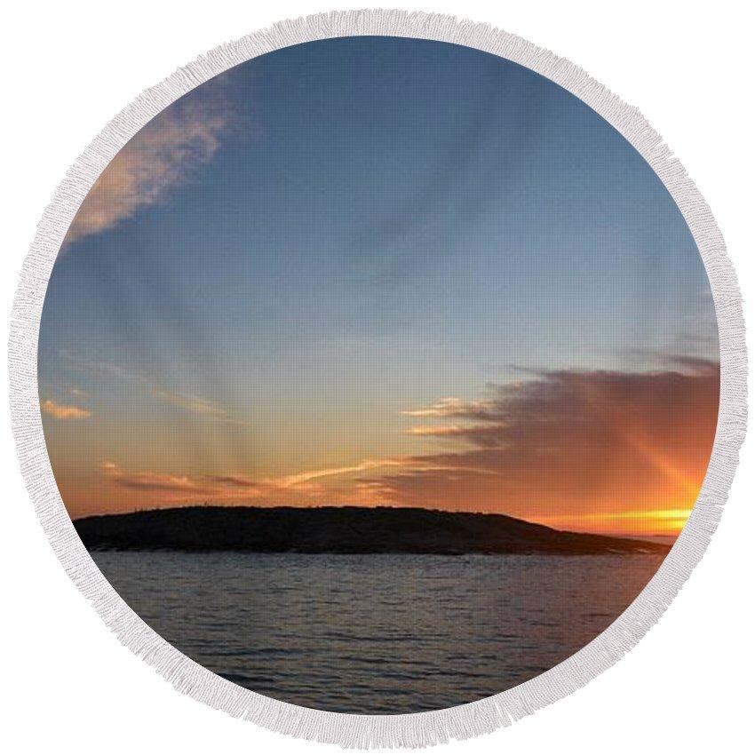 Lehtokukka Round Beach Towel featuring the photograph Variations Of Sunsets At Gulf Of Bothnia 3 by Jouko Lehto