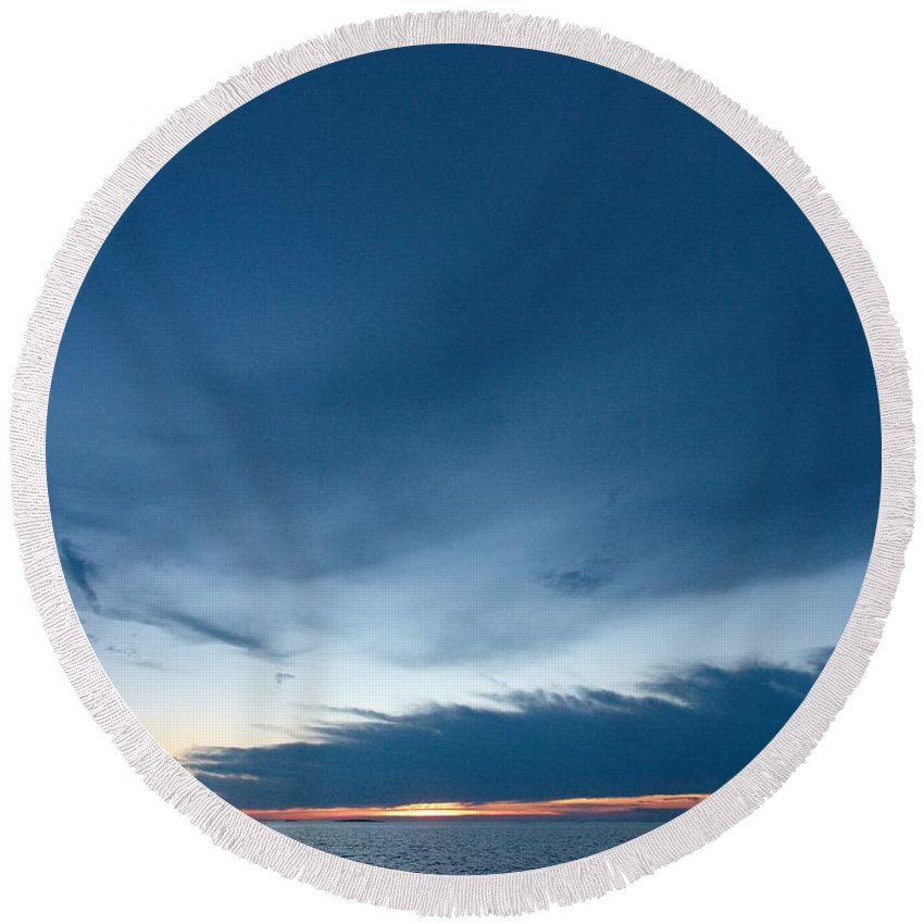 Lehtokukka Round Beach Towel featuring the photograph Variations Of Sunsets At Gulf Of Bothnia 4 by Jouko Lehto