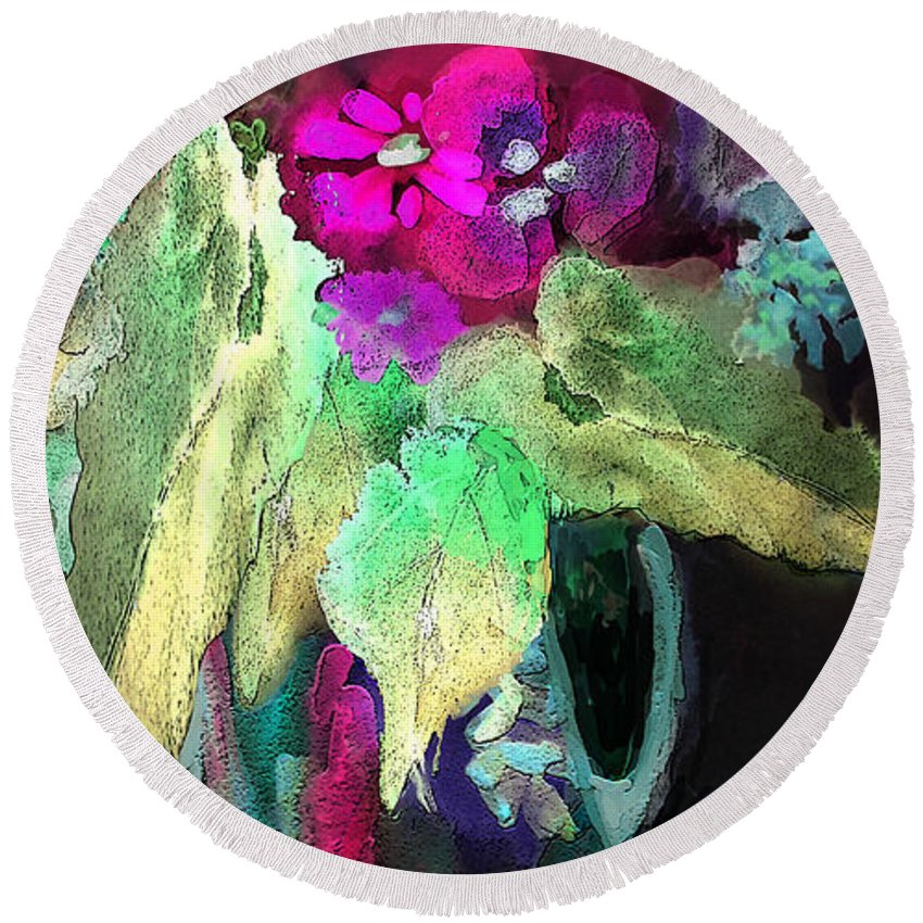 Vase Round Beach Towel featuring the painting Vase Dancing In The Night by Miki De Goodaboom