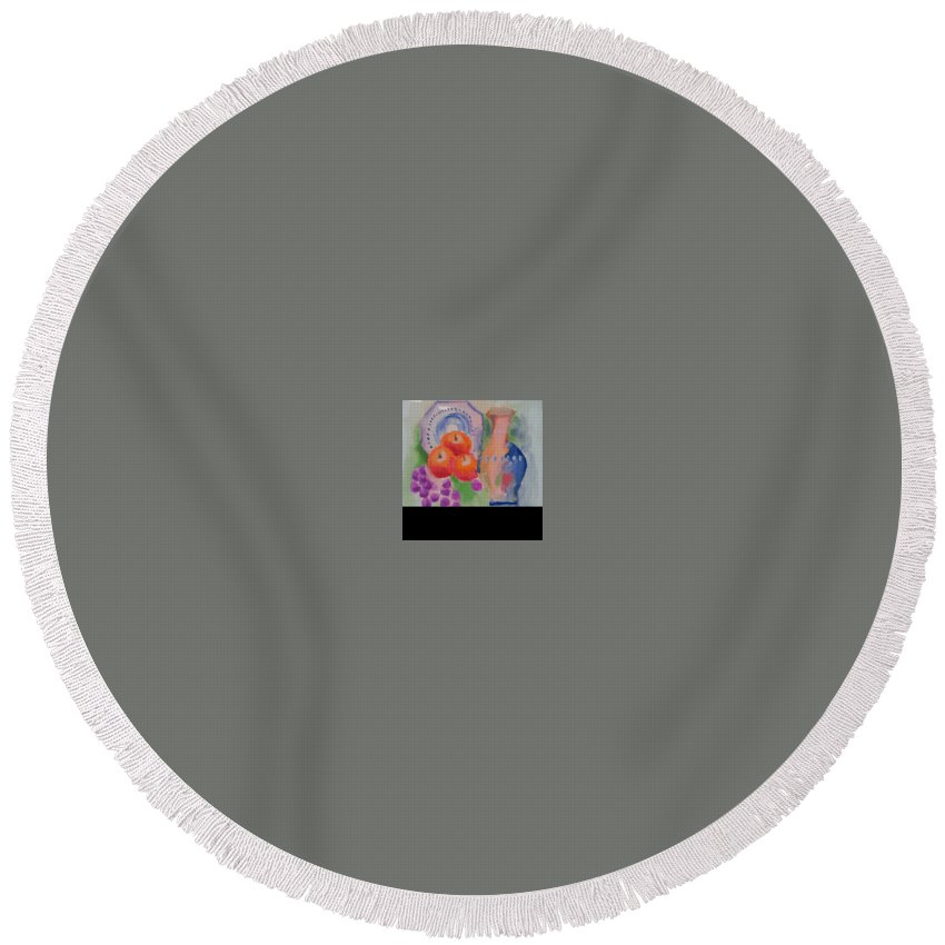 Round Beach Towel featuring the painting Vase For Table by Bethany Hannigan