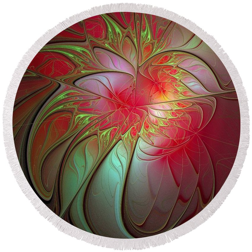 Digital Art Round Beach Towel featuring the digital art Vase Of Flowers by Amanda Moore