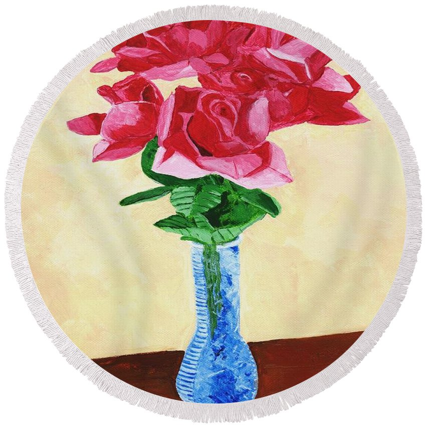 Red Roses Round Beach Towel featuring the painting Vase Of Red Roses by Rodney Campbell