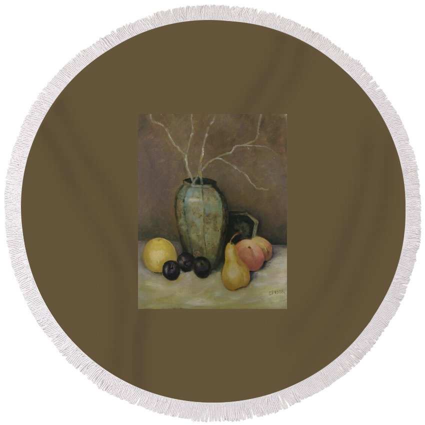 Still Life Round Beach Towel featuring the painting Vase With Fruit by Pat Snook
