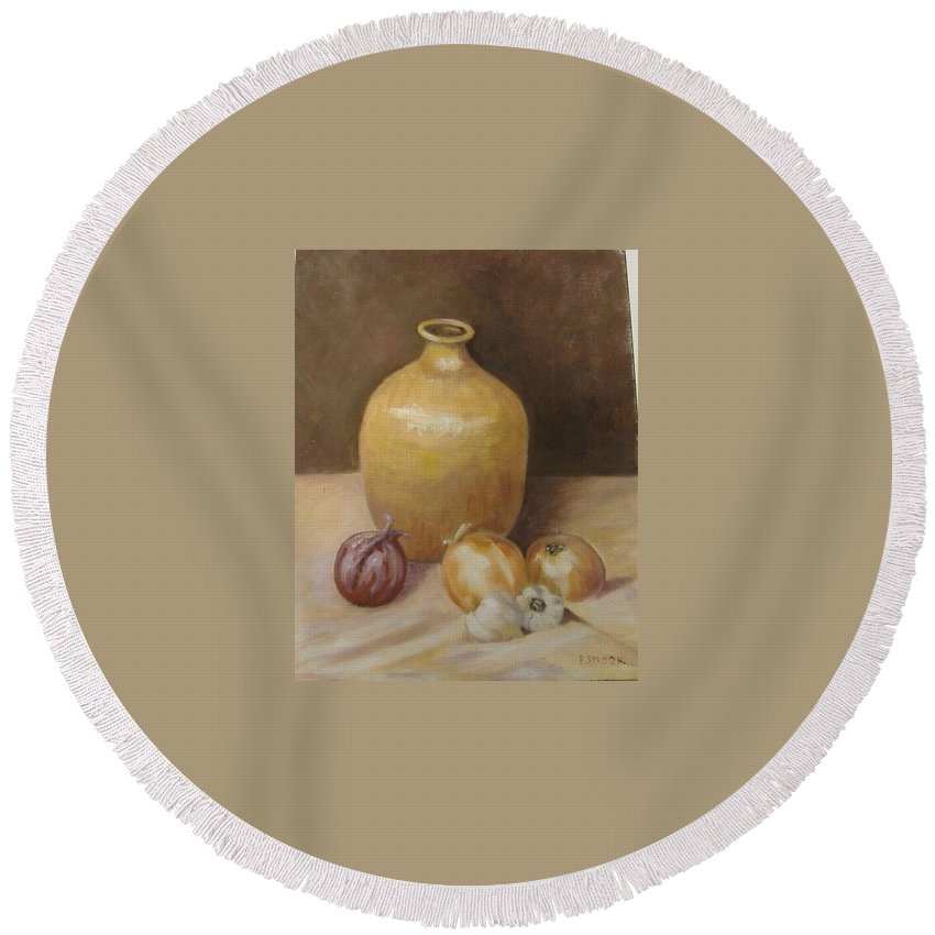 Still Life Round Beach Towel featuring the painting Vase With Onion by Pat Snook