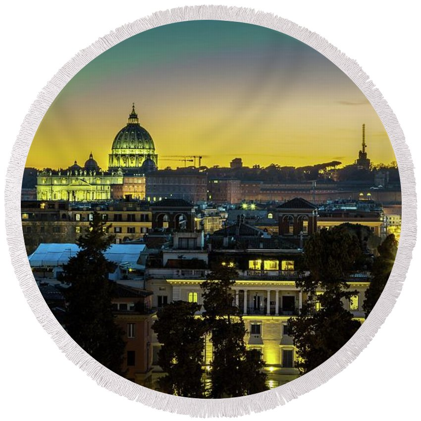 Landscape Round Beach Towel featuring the photograph Vatican At Sunset by Mike Houghton BlueMaxPhotography