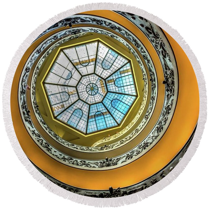 Architecture Round Beach Towel featuring the photograph Vatican Staircase Looking Up by Mike Houghton BlueMaxPhotography