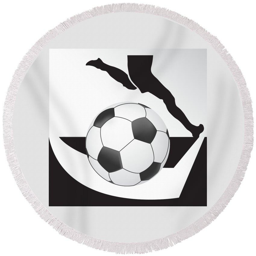 Vector Round Beach Towel featuring the digital art Vector Soccer Ball. Corner Kick Graphic Symbol by Yanin Kongurai
