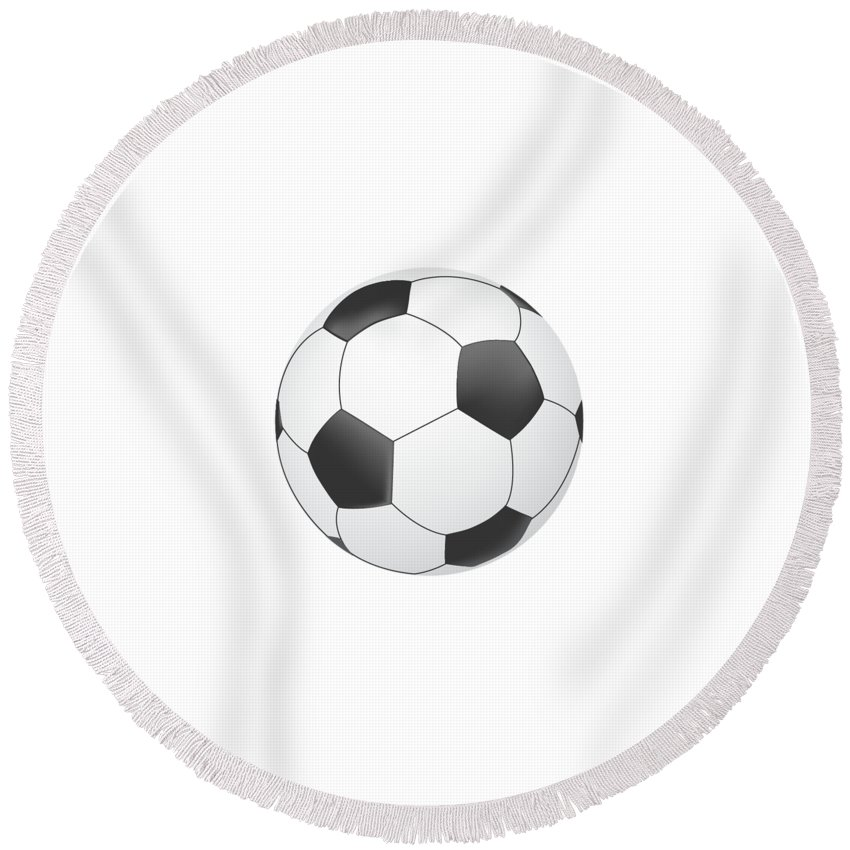Vector Round Beach Towel featuring the digital art Vector Soccer Ball Isolated On White Background by Yanin Kongurai