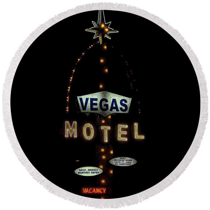 Art Round Beach Towel featuring the painting Vegas Motel by David Lee Thompson