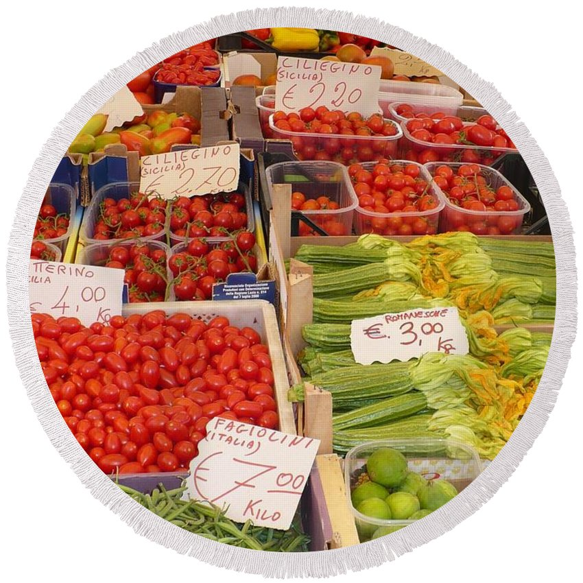 European Markets Round Beach Towel featuring the photograph Vegetables At Italian Market by Carol Groenen