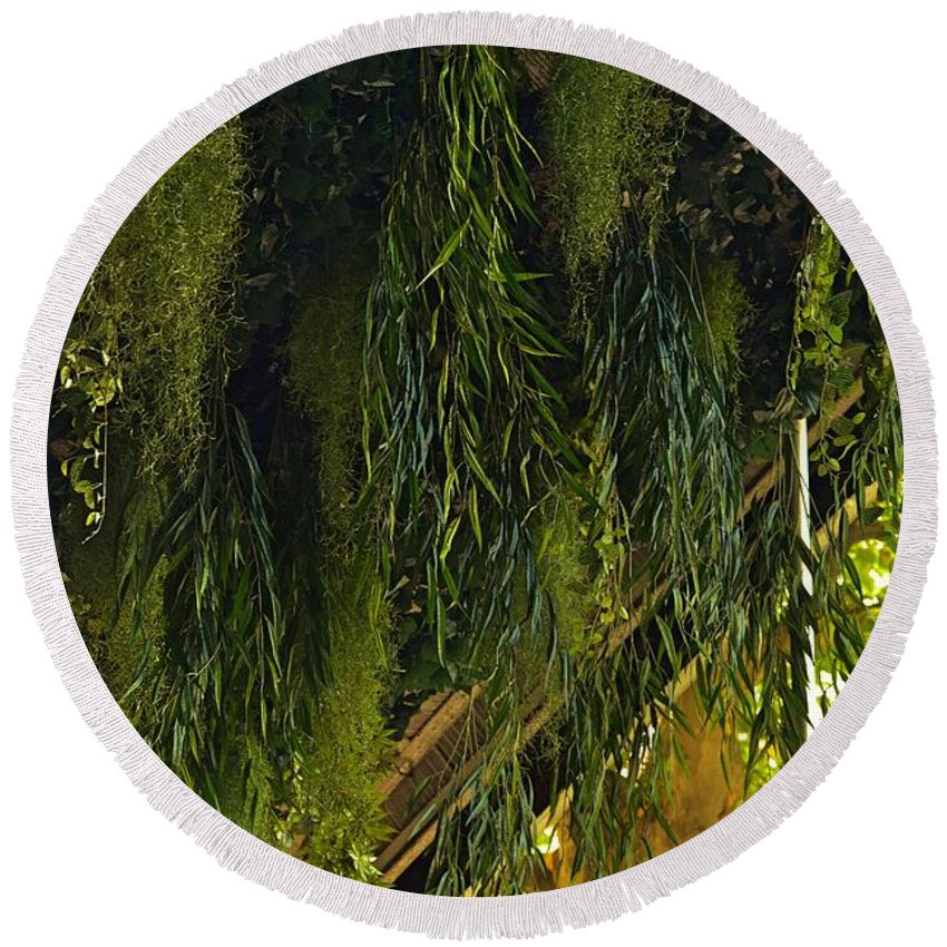 Green Leaves Round Beach Towel featuring the photograph Vegetal Roof by Valerie Dauce