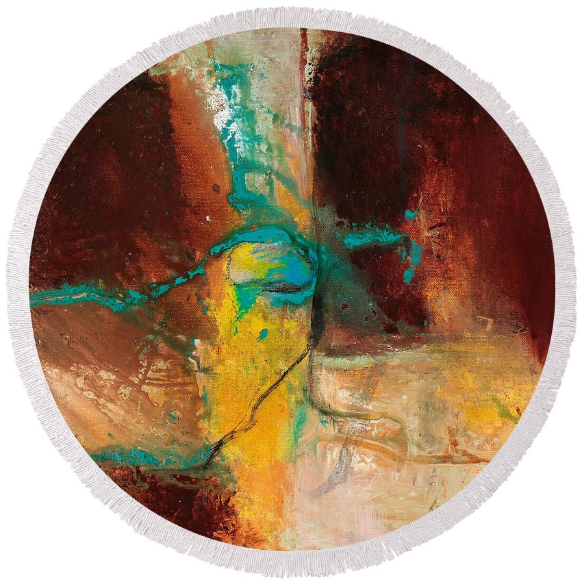 Pat Saunders-white Round Beach Towel featuring the painting Vein Turquoise by Pat Saunders-White